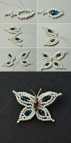 Like this pearl butterfly brooch?More details will be published by LC. Beaded Jewelry Designs, Seed Bead Jewelry, Bead Jewellery, Seed Beads, Beaded Brooch, Beaded Earrings, Beaded Bracelets, Pearl Brooch, Beaded Flowers Patterns