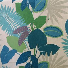 This is a blue, green and purple floral leaf cotton drapery fabric, suitable for any decor in the home or office.  Perfect for pillows, drapes and bedding.