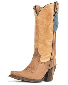 Eight Second Angel Women's Sedona Feather Boot - Distressed Tan and Natural Saddle