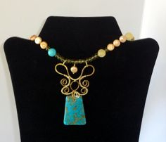Brass and Turquoise Pendant with a Cultured Pearl Bead Strand