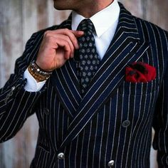 Men's Pinstripe Suit Outfit with a Red Pocket Square