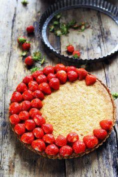 Delicious strawberry and frangipane tart