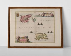 Channel Islands Historic Map, originally created by Willem Janszoon Blaeu, now available as a 'museum quality' wall decor print.  #Alderney #channelislands #Chausey #Écréhous #englishchannelmap #homedecor #travelposter #interiordesign #Guernsey #hahnemuhle #Herm #Jersey #Jethou #mapchannelislands #Minquiers #oldmap #Sark #vintagechannel