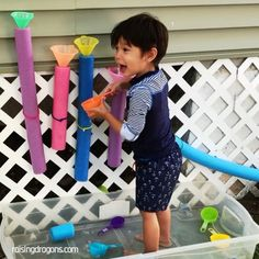 Pool Noodle Pour Station * ages ⋆ Raising Dragons Pool Noodle Pour Station 💦 ages 💦 This pour station took only a few minutes to set up and has entertained my kids. The post Pool Noodle Pour Station * ages ⋆ Raising Dragons appeared first on Welcome! Outdoor Activities For Kids, Toddler Learning Activities, Sensory Activities, Infant Activities, Water Play Activities, Play Activity, Water Games, Learning Toys, Outdoor Games