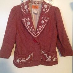 Anthropologie Voom Joy Han Embroidered Jacket m Very cute white embroidery. Beautiful burgundy tweed Anthropologie Jackets & Coats Blazers