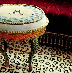 Castaing's Leopard carpet. Madeleine Castaing unfinished needlepoint stool - she liked it this way.