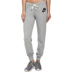 Nike Rally Tight Pant Women's Casual Pants, Gray ($45) ❤ liked on Polyvore featuring activewear, activewear pants, grey, sweatpants, gray sweatpants, cuff sweatpants, cotton sweat pants, nike sweatpants and nike