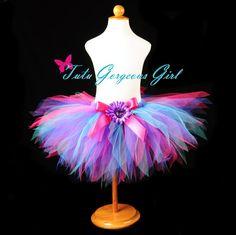 Hot Pink Turquoise Purple Birthday Tutu...Dance Tutu, Photo Prop, First Birthday Tutu...Baby, Toddler, Girls . . . RAZZLE DAZZLE on Etsy, $28.00