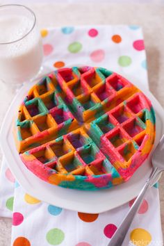 These tie-dye waffles in psychedelic shades put a colorful spin on breakfast