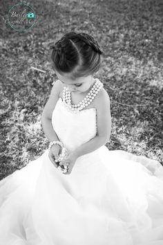 Little Girls in Pearls. Little Girls in Moms Wedding Dresses. #baileycampbellmedia