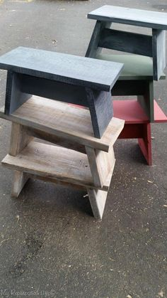 How to make useful one board stools, that are great for that top cupboard, for the grandkids, or an extra place to park your bum. # wood projects one board stools and benches Small Woodworking Projects, Wood Projects For Kids, Scrap Wood Projects, Popular Woodworking, Woodworking Furniture, Diy Woodworking, Project Ideas, Carpentry Projects, Furniture Plans