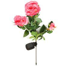 IP55 Водонепроницаемый Солнечной Энергии 3 Роза Цветок Светодиодные Сад Открытый Двор Путь Газон Парк Лампа для Партии Украшения