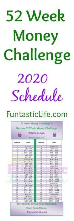 52 Week Money Challenge Schedule for 2020 #savingmoney #savingmoneytips #52weekmoneychallenge #52weekchallenge #52weekmoneysavingchallenge