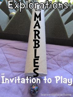 Learn with Play at home: Explorations with marbles. An Invitation to Play and learn. Jacob has been asking for marbles Play Based Learning, Learning Through Play, Learning Activities, Kids Learning, Preschool Curriculum, Preschool Classroom, Homeschool, Classroom Ideas, Fun Activities For Kids