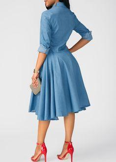 Button Up Asymmetric Hem Turndown Collar Tunic Dress Beautiful Casual Dresses, Stylish Dresses, Dresses For Sale, African Fashion Dresses, African Dress, Fashion Outfits, Cotton Dresses, Blue Dresses, Spandex Dress