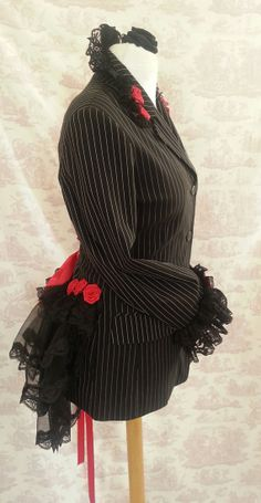 Gothic   RED ROSES Corp Goth Bustle Jacket upcycled  GOTH One Of A Kind Size 12/14