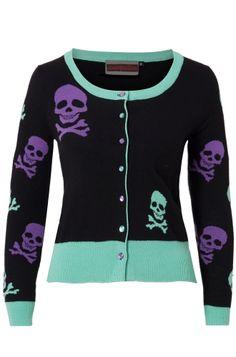 Jawbreaker Peppermint Skull Women's Cardigan ~ attitudeclothing.co.uk