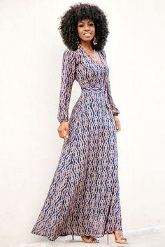 Aztec Print Long Sleeve Maxi Dress
