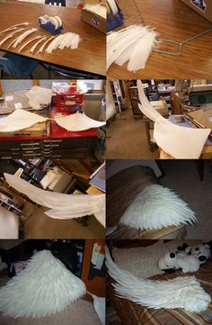 Cosplay wing tutorial by *etaru on deviantART - Though I wouldn't say that this was my favorite wing shape, (actually my least favorite) I love the way the feathers have been patterned and set.