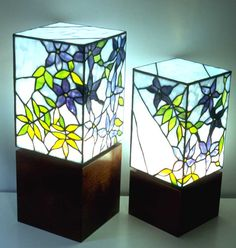 Type: Stained glass light box Title: Clematis 17.5cm x 17.5cm x 41cm high on left 15cm x 15cm x 38.5cm high on right