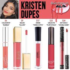 Best Ideas For Makeup Tutorials : Kylie Jenner lip kit dupes for Kristen Kylie Dupes, Kylie Lip Kit Dupe, Kylie Jenner Lip Kit, Kylie Jenner Lipstick Dupes, Kylie Jay, Kendall Jenner, Kat Von D, Love Makeup, Dupes
