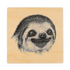 Illustrated Sloth Face Wooden Coaster - home gifts cool custom diy cyo
