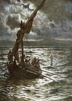 "Phillip Medhurst's Bible in pictures 168 Jesus walking upon the sea. By William Brassey Hole (1846-1917) from ""The Life of Jesus of Nazareth"" (Eyre and Spottiswoode c 1905). Location of original..."
