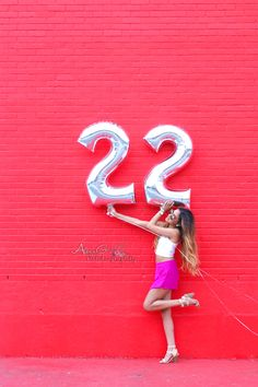 22 Birthday Photoshoot - SugarClothWall - Color Wall - Foil Number Balloons                                                                                                                                                                                 More