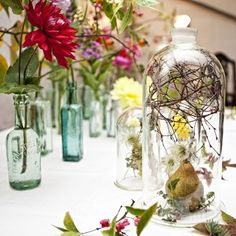bell jars and vintage bottles by pyrus, image mary overmeer