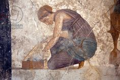 *POMPEII, ITALY ~ Slave, from a fresco in the House of Punished Love, Pompeii (fresco)