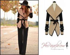 Panache Apparel: Tan Camel Brown Black Wide Collar Double Strap Sleeve Wool Cotton Blend Coat