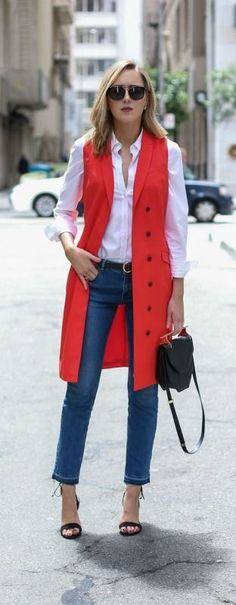 red tuxedo dress worn as a vest duster coat, classic white button down shirt, frayed hem medium wash straight leg jeans with slight flare (under $52!), ankle tie heeled sandals, m2malletier bag, wonderland black stateline sunglasses with wire nose bridge
