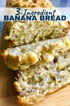 This Banana Bread could not be any EASIER! It is moist, delicious, and so incredibly simple that you can whip it up in 5 minutes, then bake it in the oven. Recipes with few ingredients EASY Banana Bread ~ Talking Meals 3 Ingredient Banana Bread Recipe, 3 Ingredient Desserts, Ingredients For Banana Bread, 3 Ingredient Cookies, Healthy Bread Recipes, Banana Bread Recipes, Recipes With Bananas, Ripe Banana Recipes Healthy, Healthy Snacks