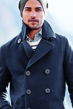 Men's Wool Pea Coat from Lands' End