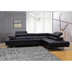 Black Bonded 2-piece Leather Sectional   Overstock.com Shopping - The Best Deals on Sectional Sofas