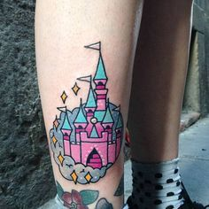 Neo Tattoo Art — Kawaii style Disney castle tattoo on the right...