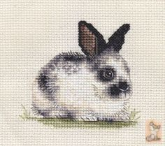 An original counted cross stitch kit by Fido Stitch Studio. This is a counted cross stitch, i. the design is not prnted on the fabric. Just Cross Stitch, Cross Stitch Animals, Counted Cross Stitch Kits, Cross Stitch Charts, Cross Stitch Designs, Cross Stitch Embroidery, Cross Stitching, Cross Stitch Patterns, English Spot Rabbit
