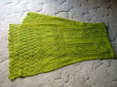 Scarf with French Trellis Border from Weldon's 1890 and Bramble Leaf Center by Jane Sowerby. malabrigo Lace in Apple Green colorway. Published in Victorian Lace Today