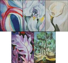 """Miniature Set 3 - Fine art cross stitch patterns. Based on the artwork of Georgia O'Keeffe and Andre Derain.  This set includes the following 5"""" x 7"""" patterns: Pink and Blue II, Light Iris, Calla Lily Turned Away, Purple Leaves, Grove.   http://www.artofstitching.com/index.php?main_page=product_info&cPath=44&products_id=451"""