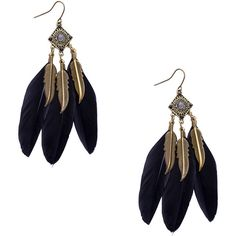 Black Retro Leaf Feather Drop Earrings (£3.25) ❤ liked on Polyvore featuring jewelry, earrings, black, vintage dangle earrings, vintage jewellery, leaf jewelry, leaves earrings and retro jewelry