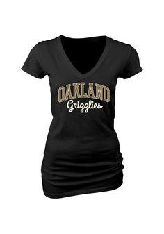 2317543e22ea Oakland University Golden Grizzlies Womens Black Rally Loud V-Neck T-Shirt  - 570607