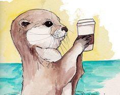 Otter print Aquarell malen Kinderzimmer Kunst von HopSkipPaint