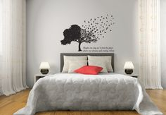 Birds Form Tree Matte Removable Vinyl Wall Art With Quote