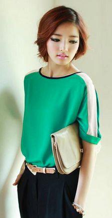Womens Chiffon Casual Loose 3/4 Batwing Sleeve Color Block Top T-Shirt Blouse