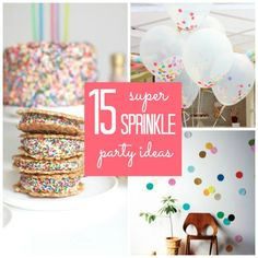 Who doesn't love cake sprinkles? Here are 15 super sprinkle party ideas for bringing the fun of sprinkles to your next party! 2nd Birthday Parties, Birthday Fun, Birthday Ideas, Diy Party, Party Gifts, Party Ideas, Sprinkle Party, Baby Sprinkle, Sprinkle Shower