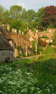 Cottages in Bibury, England. The charming Cotswolds