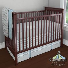 Crib bedding in Solid Mist, Mist and Gray Chevron, Solid Silver Gray, Silver Gray Minky. Created using the Nursery Designer® by Carousel Designs where you mix and match from hundreds of fabrics to create your own unique baby bedding. #carouseldesigns