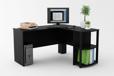 Awesome Black Laminated Particle Wood Corner Desk With Shelves Ideas
