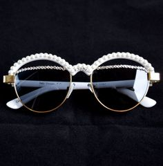 230feaa01f Retro White Sunglasses with Swarovski Crystals and by IceItLLC