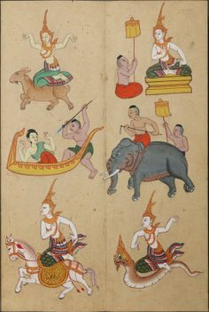 drawings of zodiac figures implying the Year of the Goat in East Asian astrological belief system Historical Artwork, New Art, Art Images, Pig Drawing, Thailand Art, Illustrated Manuscript, Traditional Paintings, Birds Of Australia, Thai Art